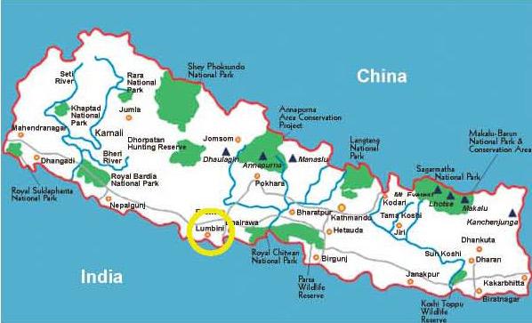 Lumbini Nepal  city images : Lumbini Nepal Map