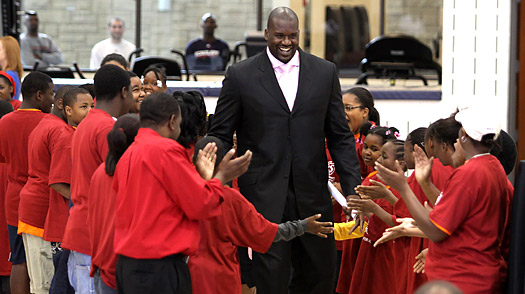 Shaquille O'Neal enters the court through a path of young fans as he's introduced as a new Cleveland Cavalier at the Cleveland Clinic on July 2 in Independence, Ohio David Liam Kyle / NBAE / Getty