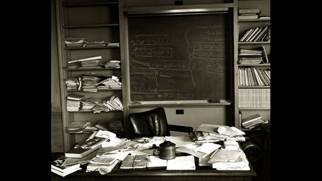 Einstein's office at the Institute for Advanced Study in Princeton, New Jersey, photographed on the day of his death, April 18, 1955.