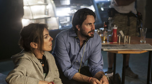 "Director/Producer Kathryn Bigelow (left) and Writer/Producer Mark Boal on the set of Columbia Pictures' thriller, ""Zero Dark Thirty."" 