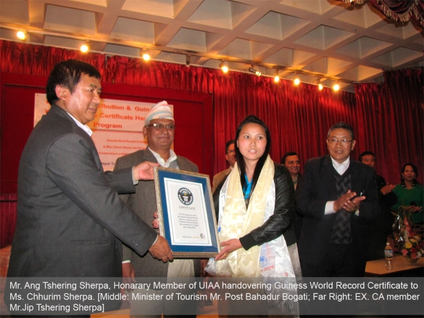 Guiness World Record certificate handing over