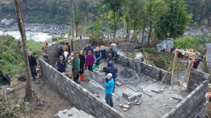 Aussie Action Abroad team works on local church building, Bulbhule, Lamjung District, Annapurna Region.