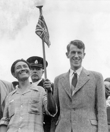 ON TOP: Sherpa Tenzing Norgay and Sir Edmund Hillary after their triumph.