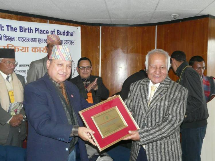 Former Ambassador Kamal Prasad Koiralato Korea recognition by the Lumbini Kapilvastu Dayr Movement for his special contribution to correct Buddha birthplace misconception in Korean books and this is the milestone of the Movement