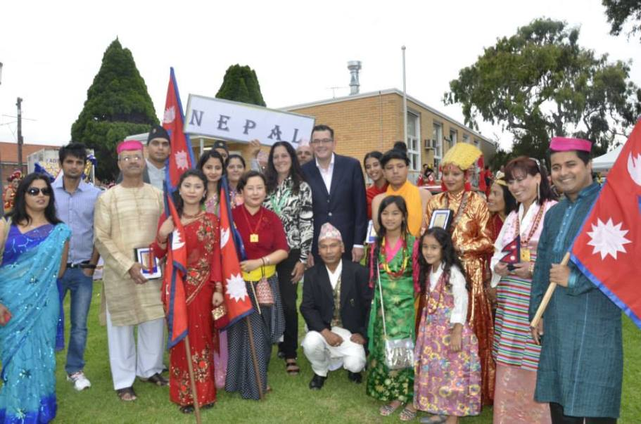 Premier of Victoria Daniel Andrews, former minister Richard Marles, and Christine Couzens MP with Nepalese Community