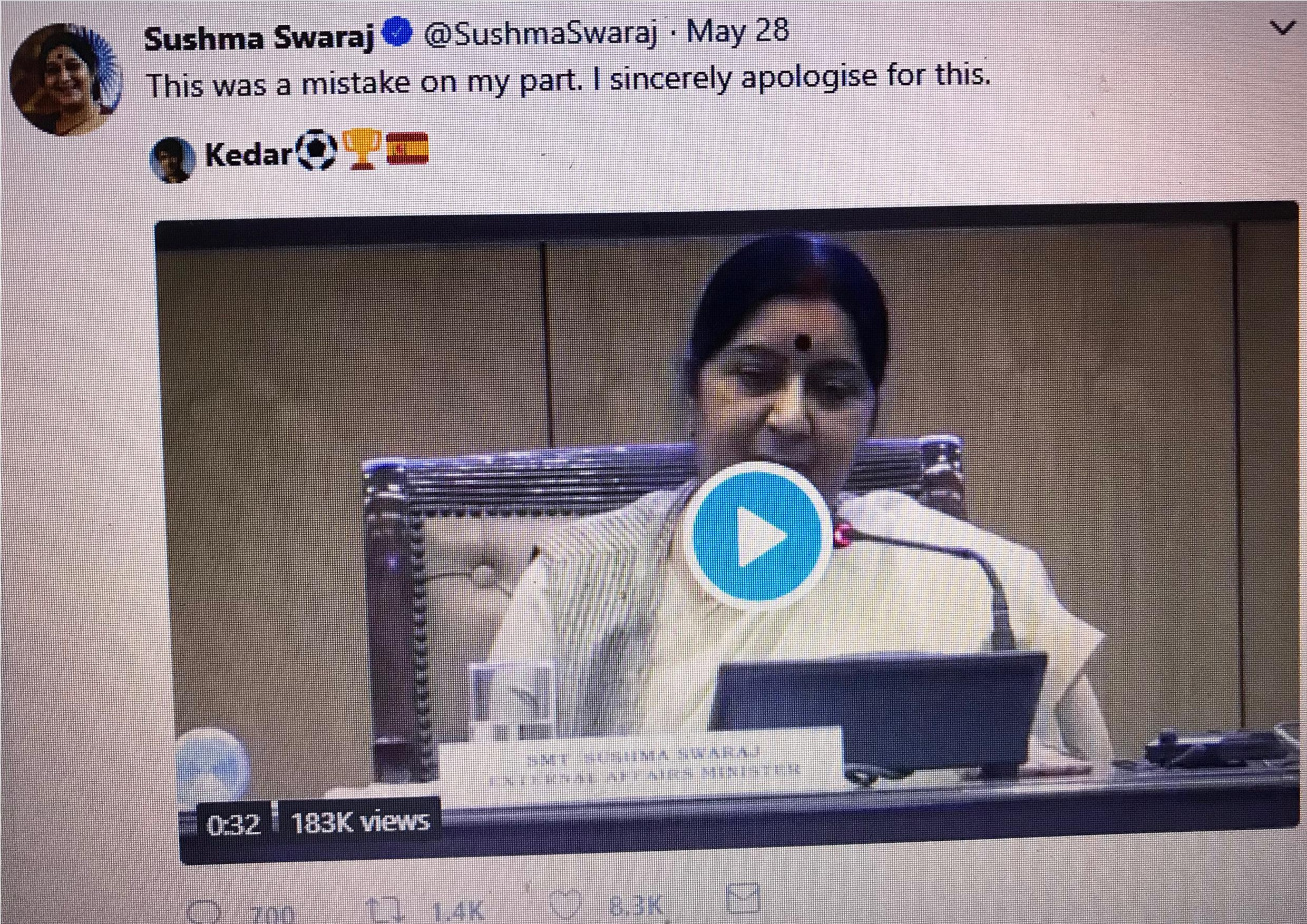 Sushma apology